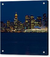 Downtown Vancouver At Night  Acrylic Print
