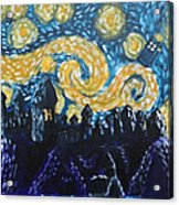 Dr Who Hogwarts Starry Night Acrylic Print by Jera Sky
