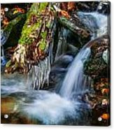 Dragons Teeth Icicles Waterfall Great Smoky Mountains Painted  Acrylic Print