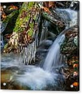 Dragons Teeth Icicles Waterfall Great Smoky Mountains  Acrylic Print
