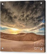 Dramatic Clouds Over The Sand Dunes Acrylic Print