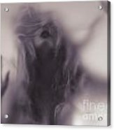 Dramatic Photo Of Woman Blurred Silhouette Behind Hazy Glass Acrylic Print