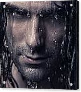 Dramatic Portrait Of Man Wet Face With Long Hair Acrylic Print by Oleksiy Maksymenko