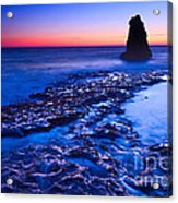 Dramatic Sunset View Of A Sea Stack In Davenport Beach Santa Cruz. Acrylic Print by Jamie Pham