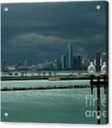 Dramatic Thunderstorm Over Navy Pier Chicago Acrylic Print