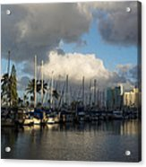 Dramatic Tropical Storm Light Over Honolulu Hawaii  Acrylic Print