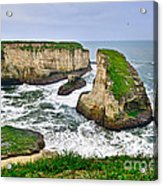 Dramatic View Of Shark Fin Cove In Santa Cruz California. Acrylic Print
