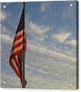 Draped American Flag Pole Dusk  Casa Grande Arizona 2004 Acrylic Print
