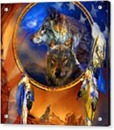Dream Catcher - Wolf Dreams Patriotic Acrylic Print