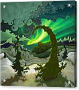 Dream Landscapes Aurora Green Acrylic Print