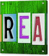 Dream License Plate Letter Vintage Phrase Artwork On Green Acrylic Print