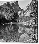 Dreaming At Dream Lake - Black And White Acrylic Print
