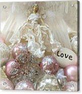 Dreamy Angel Christmas Holiday Shabby Chic Love Print - Holiday Angel Art Romantic Holiday Ornaments Acrylic Print