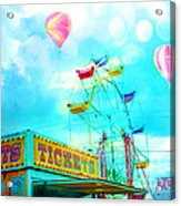 Dreamy Carnival Ferris Wheel Ticket Booth Hot Air Balloons Teal Aquamarine Blue Festival Fair Rides Acrylic Print