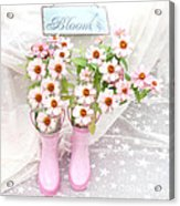 Dreamy Cottage Garden Art - Shabby Chic Pink Flowers Garden Bloom With Pink Rain Boots Acrylic Print