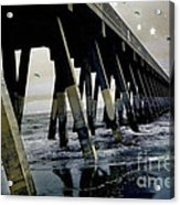 Dreamy Haunting Ocean Coastal Pier With Stars And Birds Acrylic Print by Kathy Fornal