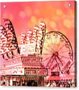 Surreal Hot Pink Orange Carnival Festival Cotton Candy Stand Candy Apples Ferris Wheel Art Acrylic Print