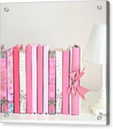 Dreamy Romantic Books Collection - Shabby Chic Cottage Chic Pastel Pink Books Photograph Acrylic Print by Kathy Fornal