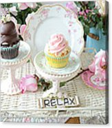 Dreamy Shabby Chic Pink Chocolate Cupcakes Vintage Romantic Food Floral Cupcake Kitchen Art Decor Acrylic Print