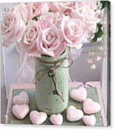 Shabby Chic Pink Roses - Romantic Valentine Roses Hearts Floral Prints Home Decor - Romantic Roses  Acrylic Print