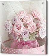 Dreamy Shabby Chic Roses In Pink Polka Dot Hat Box - Romantic Roses Floral Bouquet Acrylic Print
