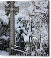 Dreamy Snowy Cross Acrylic Print