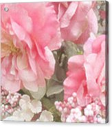 Dreamy Pink Roses, Shabby Chic Pink Roses - Romantic Roses Peonies Floral Decor Acrylic Print