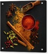 Dried Spices On Black Slate Acrylic Print