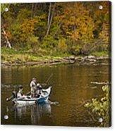 Drift Boat Fishermen On The Muskegon River Acrylic Print