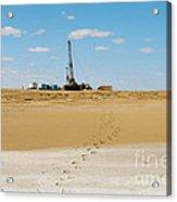 Drilling In The Desert. Acrylic Print by Alexandr  Malyshev