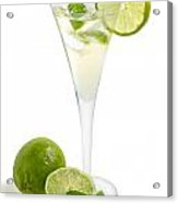 Drink With Lime And Mint In A Champagne Glass Acrylic Print by Palatia Photo