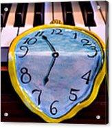Dripping Clock On Piano Keys Acrylic Print by Garry Gay