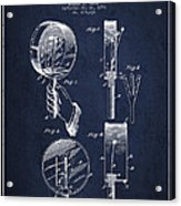 Droop Hand  Drum Patent Drawing From 1892 - Navy Blue Acrylic Print