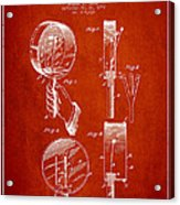 Droop Hand  Drum Patent Drawing From 1892 - Red Acrylic Print