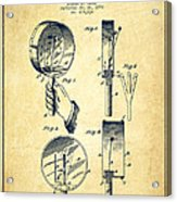 Droop Hand  Drum Patent Drawing From 1892 - Vintage Acrylic Print