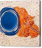 Dropped Plate Of Spaghetti On Carpet Acrylic Print