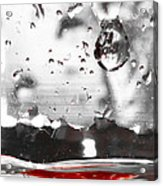 Drops Of Water With Red Acrylic Print