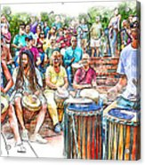 Drum Circle Of Friends Acrylic Print