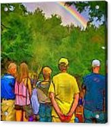 Drum Circle Rainbow Acrylic Print