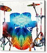 Drum Set Art - Color Fusion Drums - By Sharon Cummings Acrylic Print