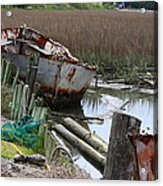 Dry Docked Acrylic Print by Paula Rountree Bischoff