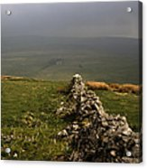 Drystone Wall  Misty Day Kettlewell Wharfedale North Yorkshire England Acrylic Print