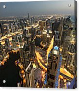 Dubai Marina Twilight Acrylic Print