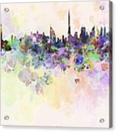 Dubai Skyline In Watercolour Background Acrylic Print