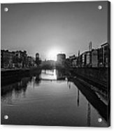 Dublin Sunrise - Liffey River In Black And White Acrylic Print