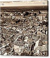 Dubrovnik Rooftops And Lokrum Island Against The Dalmatian Adriatic Sepia Acrylic Print