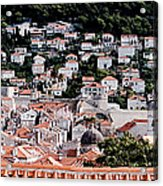 Dubrovnik Rooftops Domes And North East Walls Against The Mountains From The Sea Walls Acrylic Print