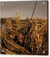 Duck Hunter In Blind Acrylic Print by Ron Sanford