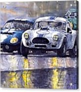 Duel Ac Cobra And Shelby Daytona Coupe 1965 Acrylic Print