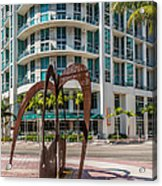 Duenos Do Las Estrellas Sculpture - Downtown - Miami Acrylic Print by Ian Monk